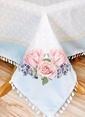 The Mia Çiçek Desenli Masa Örtüsü - 140*140 Cm - Mavi Mavi